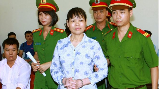 Can Thi Theu at her trial. Source_ Facebook Trinh Ba Phuong - VIETNAM VOICE 2