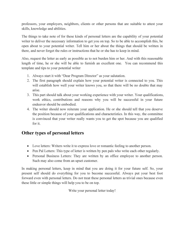 Personal Letter - Little Known Secrets in Writing Personal Letters