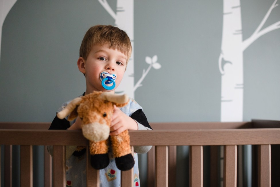 boy with lovey and nuk in crib | Alison Bents