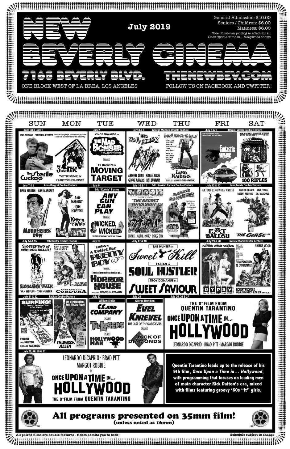 Once Upon A Time In Hollywood - The New Beverly Cinema calendar July 2019July-2019