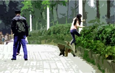 The monkey harassing a girl