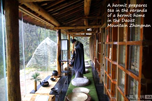 "A former businessman preparing tea at theveranda for his fellow ""modern hermits"""