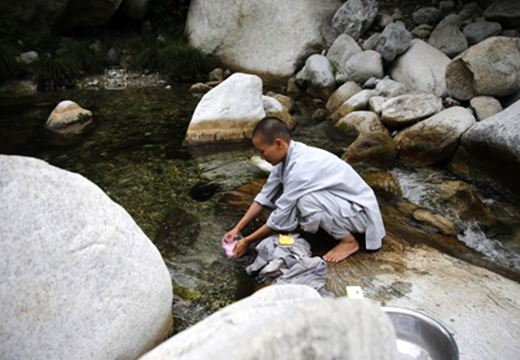 A Buddhist nun washing clothes in a stream