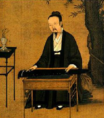 Ancient Chinese painting: a Daoist paying qin