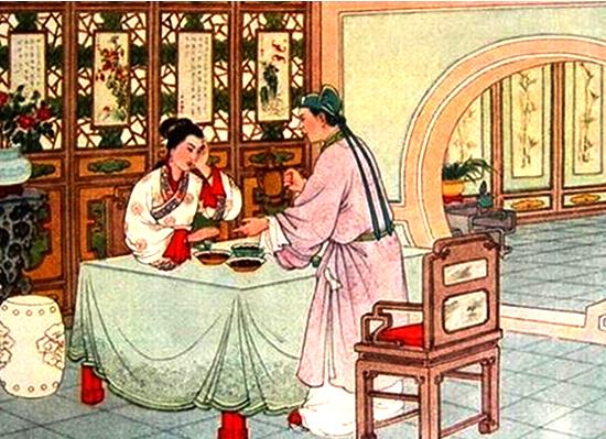 Xu Xian urging his wife to take realgar wine