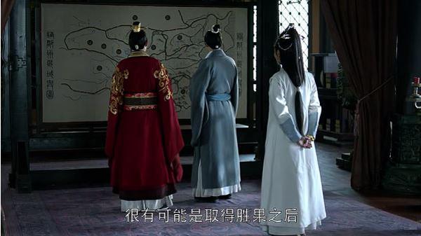 Mei Changsu, Crown Prince Jing and Princess Nihuang studying a military map