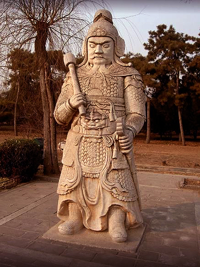 An ancient Chinese general in full military gear