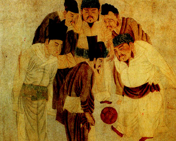Chinese emperor playing soccer with his officials