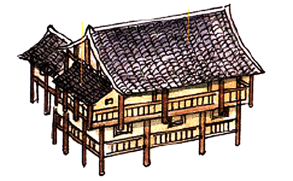 Traditional Chinese roof for stilt houses in mountain areas