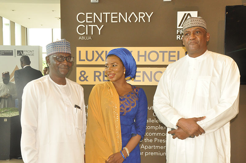 CEO Viewpoint Housing Media Mal Ahmed Abubakar Goringo, Hajiia Mariam Shettima and Managing Director of Dantata Estate, Mr Alhassan Dantata