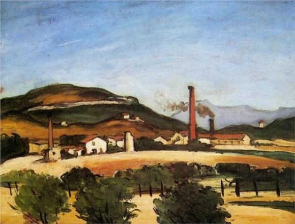 Paul Cezanne | Factories Near Mont de Cengle (1870)