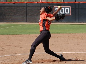 Chelsea Ponce pitching for Riverside City College in 2011. (File Photo)