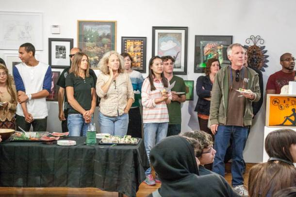 Open Eyes and Ears: Students, family and faculty enjoy refreshments in the art gallery as awards for the night are given. Jose Miranda | Special to Viewpoints