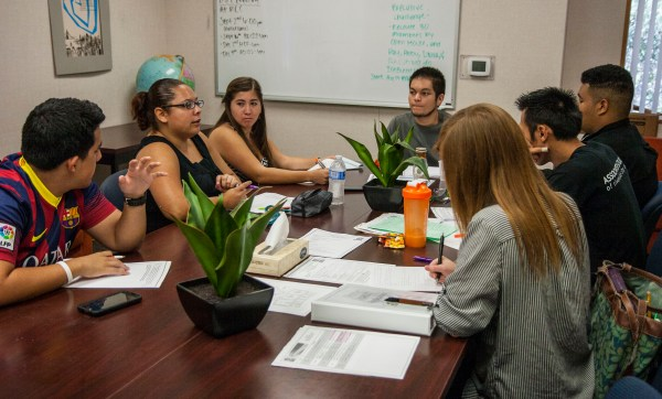 President Ray Orozco meets with student government