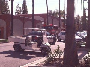 Emergency services in front of the Riverside City College music building. (James H. Williams | Managing Editor)