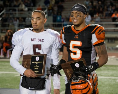 MVP: RCC's line backer Jonah Moi and Mt. SAC's quarter back Justin Alo were both awarded MVP at the state semifinals held at RCC on Nov. 29, 2014. (Michael Walter   Asst. Photo Editor)
