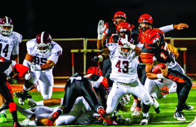 POUNCE: Sitiveni Tamaivena and the Mt. SAC defense capitalized on the miscues within the RCC offense. (Luis Solis   Photo Editor)