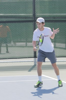 Riverside City College sophomore Patrick Stetco during his doubles match in the 2015 OEC tournament on April 9