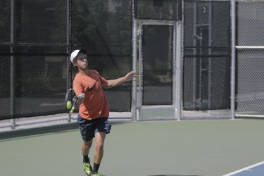 Riverside City College sophomore Patrick Stetco during his doubles match at he OEC Tournament on April 10