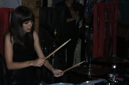 Summer Twins' drummer Justine Brown plays the drums inside the Back to the Grind located in Riverside, Calif. for Saturation Fest on May 24, 2015 (Photo by Isela Quijas)