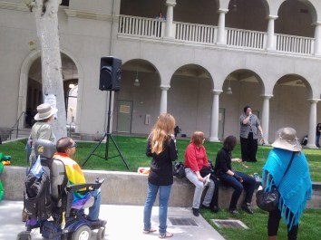 Asher Jones, GSA Event Coordinator, speaks at the Gender and Sexualities Alliance Rally in the Quadrangle on May 26.Crystal Olmedo | Viewpoints