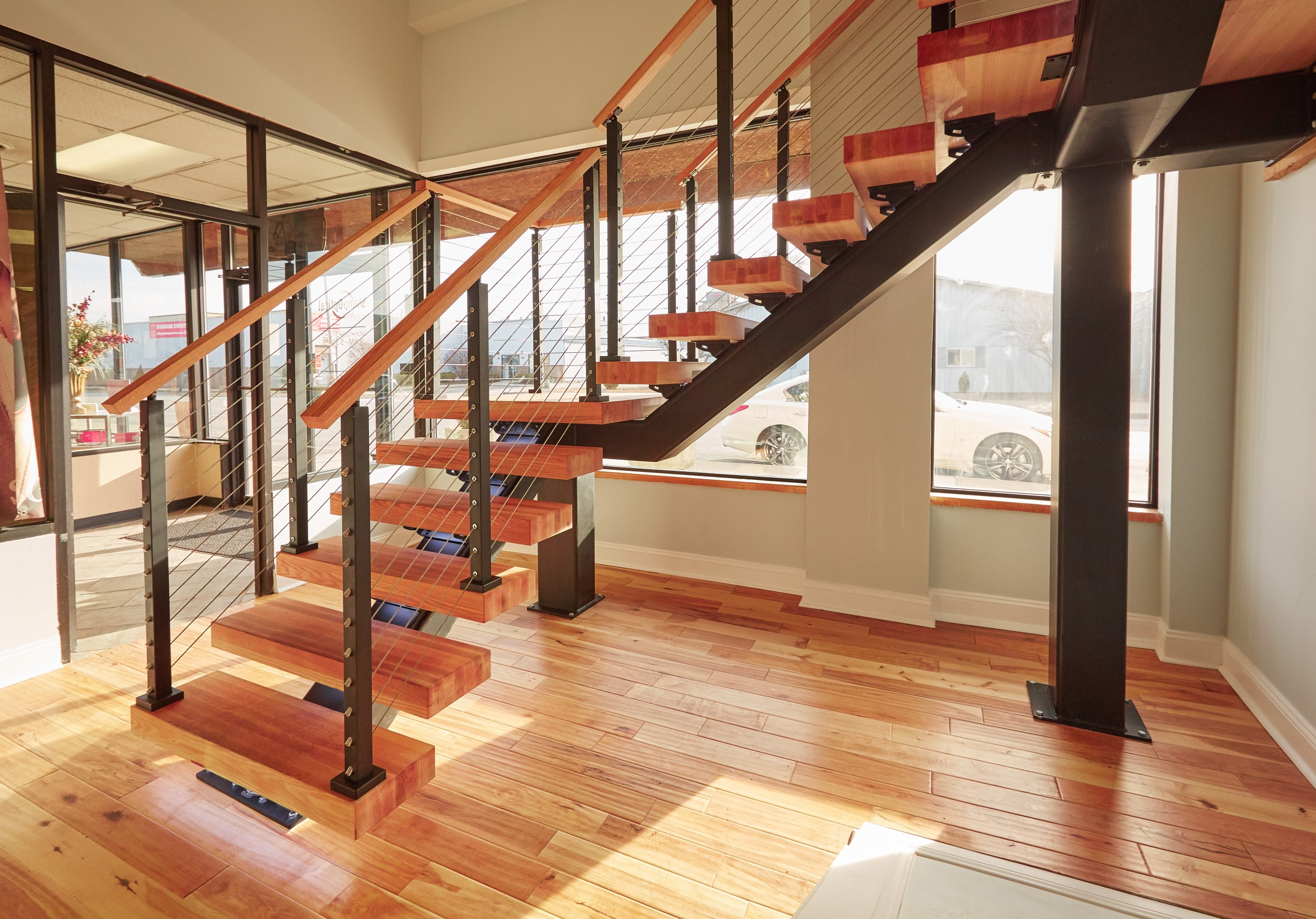 Floating Stairs Design: Straight, 90° Turn, Switchback