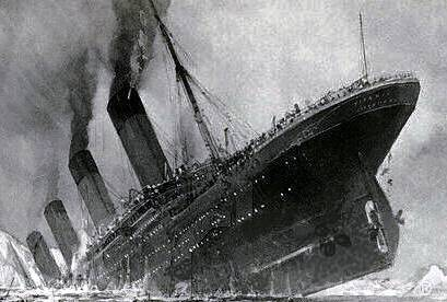 Cropped image of Titanic sinking painting by Stower