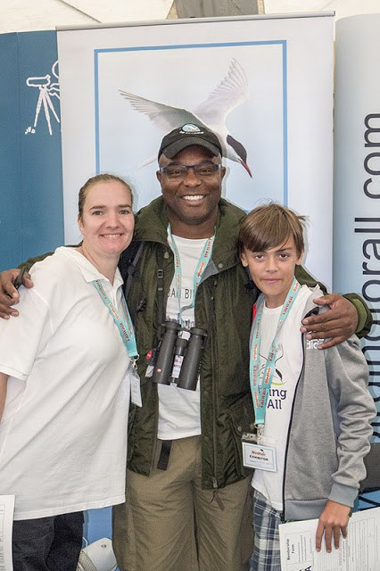 David Lindo (aka the Urban Birder) with Zoe and Tubs at Birdfair 2017 weekend