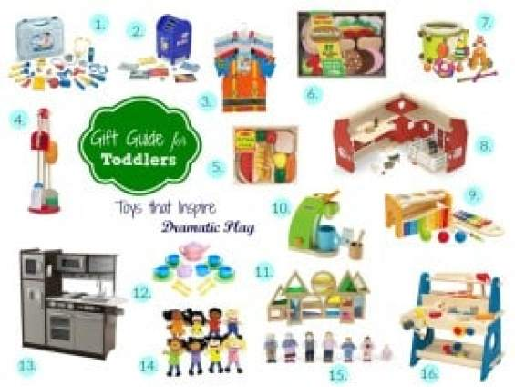 A gift guide of toys for toddlers that will inspire creative and dramatic play! All gender neutral and sure to please little ones. These are the perfect gifts for friends, nieces, nephews, cousins...