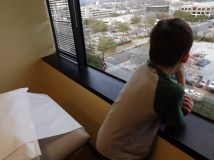 Zack was enthralled by the view from the exam room