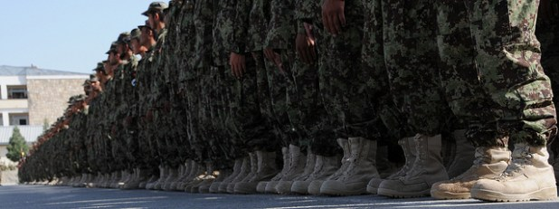 Afghan National Army recruits stand in formation during their graduation ceremony at the Kabul Military Training Center.  (Photo by US Army, Creative Commons License)