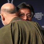 Two dispensable men: Afghanistan's Hamid Karzai and Pakistan's Pervez Musharraf at a World Economic Forum meeting in Davos, Switzerland, January 24, 2008. (Photo by World Economic Forum)
