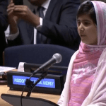 Malala Yousafzai addressing the United Nations Youth Assembly in New York on July 12, 2013. (ViewsWeek photo via video stream)