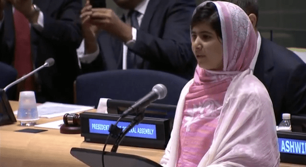 Malala Yousafzai addressing the United Nations Youth Assembly in New York on July 12. (ViewsWeek photo off video stream)