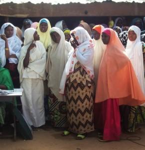 Female polio vaccinators awaiting documentation in Kano. (Photo by Aminu Abubakar/IRIN)