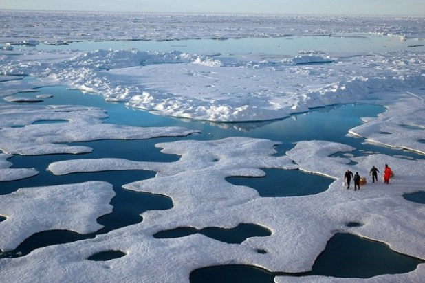 NOAA scientists explore the Arctic during a 2005 mission. (NOAA photo via ThinkProgress)