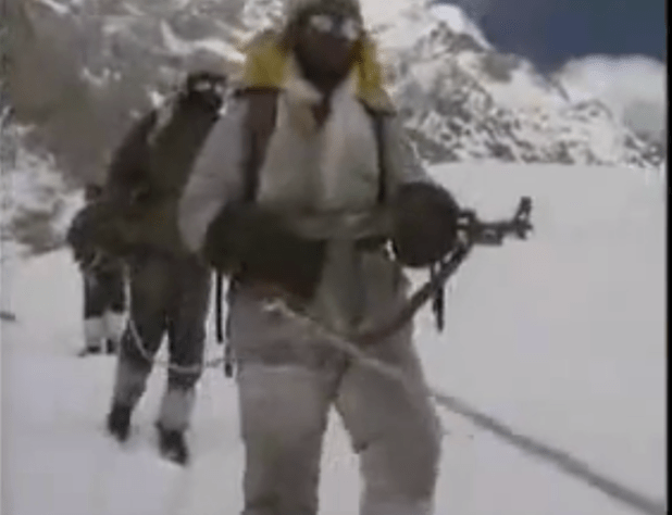 Pakistani soldiers conducting a routine patrol the Siachen sector. (Photo from video stream)
