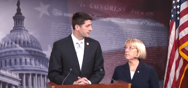 House Budget Committee Chairman Paul Ryan (R-WI)  announcing the budget deal he reached with Senator Patty Murray (D-WA) to avert another government shutdown on December 11. (Photo from video stream)