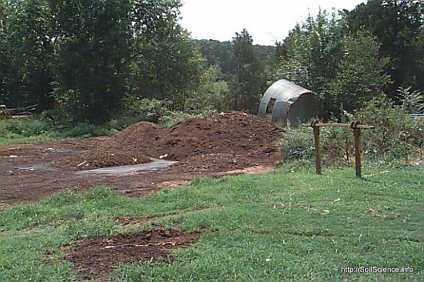 Improperly stored poultry litter can lead to the degradation of water quality. (Photo by by Soil Science @ NC State)