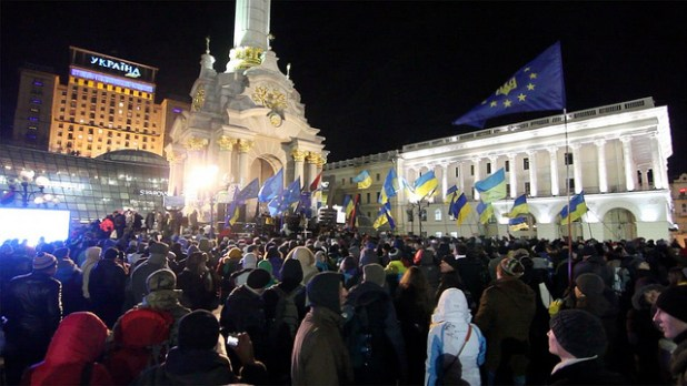 A view of an anti-government protest in Ukrainian capital Kiev. (Photo by Oxlaey, Creative Commons License)