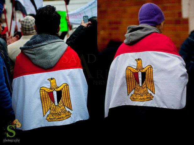 Egyptians at a pro-Arab Spring rally in London in January 2012. (Photo  by Saad Sarfraz Sheikh, Creative Commons License)