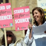 Dr. Katie Gibbs speaks at a Stand Up for Science rally at Parliament Hill in Ottowa last September. (Photo by Kevin O'Donnell, via Evidence for Democracy)