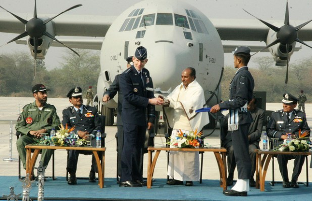 The Indian Air Force inducted the first of six Lockheed Martin C-130J 'Super Hercules' aircraft into its transportation fleet February 5 at a ceremony at Air Force Station Hindon. (Photo by US embassy New Delhi, Creative Commons License)