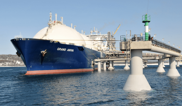 Sakhalin LNG tanker at jetty, Russia. (Photo by Shell, Creative Commons License)