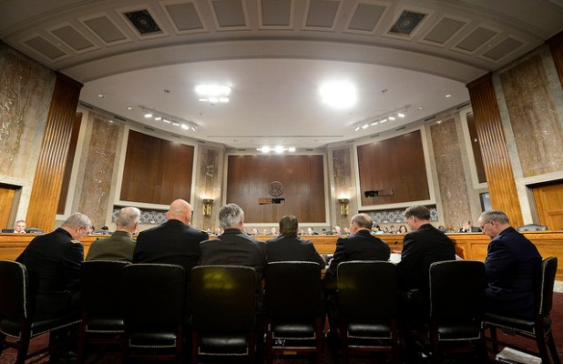Air Force Chief of Staff Gen. Mark A. Welsh III testifies with a panel of Defense Department witnesses on Capitol Hill during a hearing before the Senate Armed Services Committee on Feb. 12, 2013, in Washington, about the potential impact of sequestration and a full-year continuing resolution. (Photo by Official U.S. Air Force, Creative Commons License)