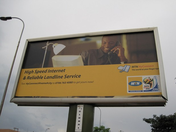 South African telecomm giant MTN controls some 52% of Nigeria's mobile telecoms market. (Photo by Wayan Vota, Creative Commons License)