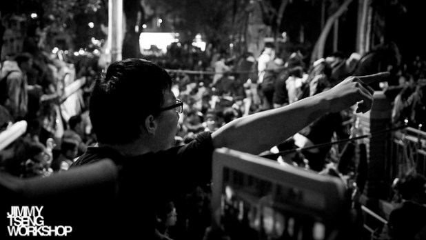 Taiwanese students protesting outside the country's parliamen. (Photo by Jimmy Tseng, Creative Commons License)
