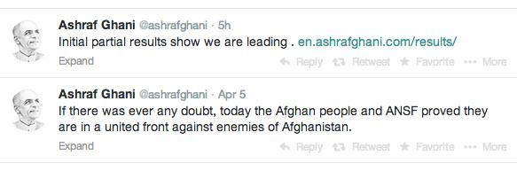 Ashraf Ghani tweets