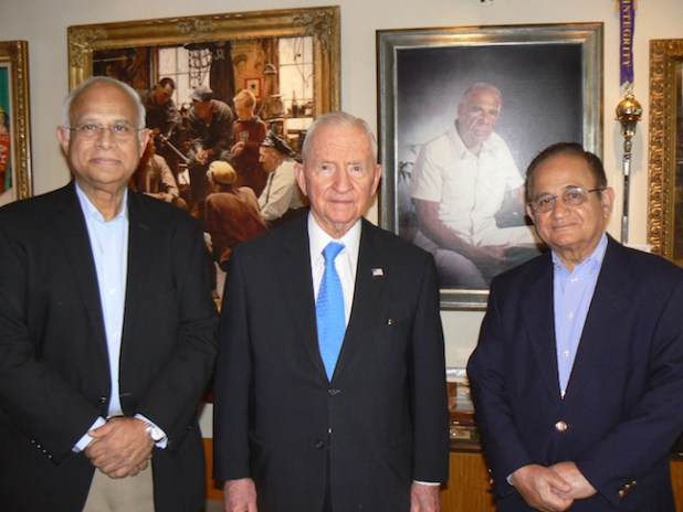 Writer Ikram Sehgal (Left), Ross Perot and Dr Ehsan ul Haq at Perot's home in Dallas.