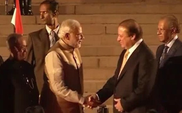 Prime Minister Nawaz Sharif congratulates Indian PM Narender Modi after oath-taking ceremony. (Photo by R Sameer, Creative Commons License)